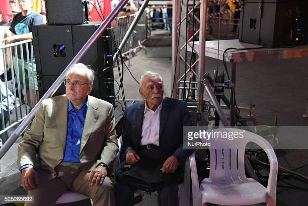 Nikos Konstantopoulos former chairman of SYRIZA and father of Zoe Konstantopoulou now supporting Popular Unity and Manolis Glezos icon of the Left...