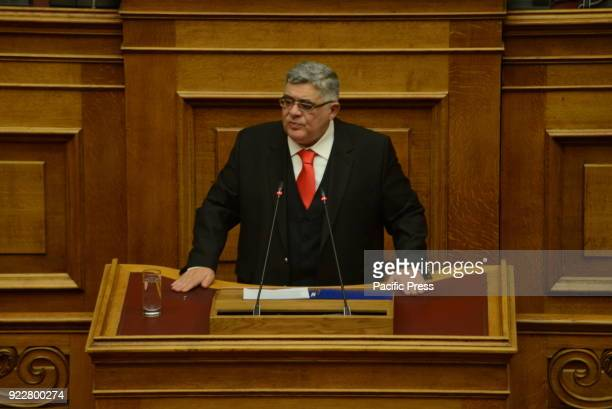 PARLIAMENT ATHENS ATTIKI GREECE Nikos Michaloliakos General Secretary of Golden Dawn during his speech in Hellenic Parliament