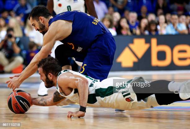 Nikos Pappas and Pau Ribas during the match between FC Barcelona v Panathinaikos BC corresponding to the week 1 of the basketball Euroleaguein...