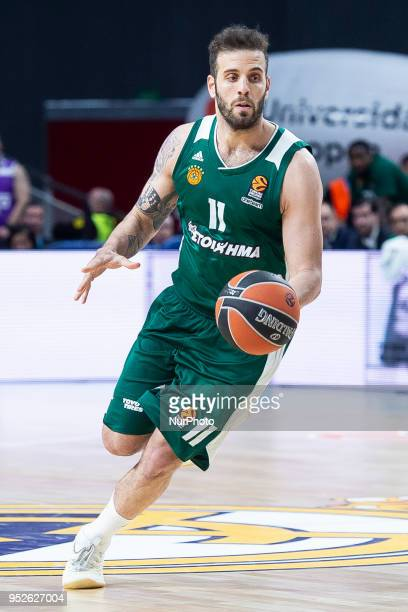 Nikos Pappas of Panathinaikos Superfoods in action during the Turkish Airlines Euroleague Play Offs Game 4 between Real Madrid v Panathinaikos...