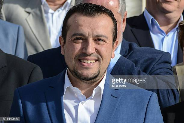 Nikos Pappas responsible for telecommunication and media attends kick up meeting of the new cabinet of PM Alexis Tsipras in Athens on November 6 2016
