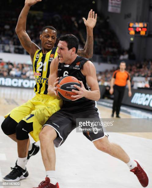 Nikos Zisis #6 of Brose Bamberg competes with James Nunnally #21 of Fenerbahce Istanbul in action during the 2016/2017 Turkish Airlines EuroLeague...