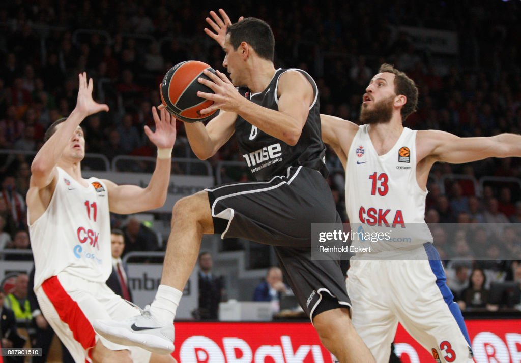 Nikos Zisis, #6 of Brose Bamberg of Brose Bamberg competes with Sergio Rodriguez, #13 of CSKA Moscow in action during the 2017/2018 Turkish Airlines EuroLeague Regular Season Round 11 game between Brose Bamberg and CSKA Moscow at Brose Arena on December 7, 2017 in Bamberg, Germany.