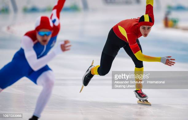 Nil Llop of Spain competes in the Mens 500m sprint race during the ISU Junior World Cup Speed Skating Final Day 2 on February 9 2019 in Trento Italy
