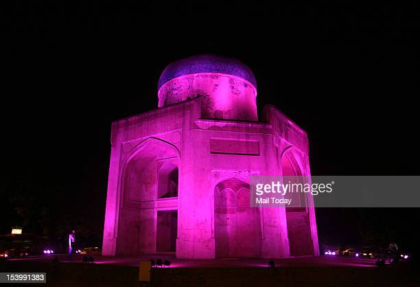 Nila Gumbad monument inside the Humayun's Tomb in New Delhi being lit with special pink light to celebrate the International Day of the Girl Child on...