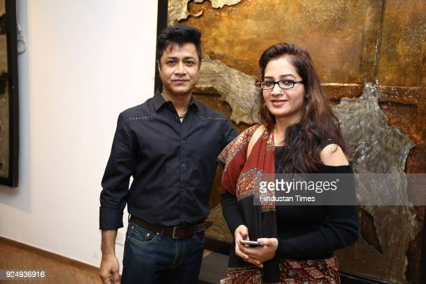 Niladri Paul and Nishi Nitya during the solo exhibition by artist Simran KS Lamba titled Chainsaw Bread at Lalit Kala Academy Rabindra Bhavan on...