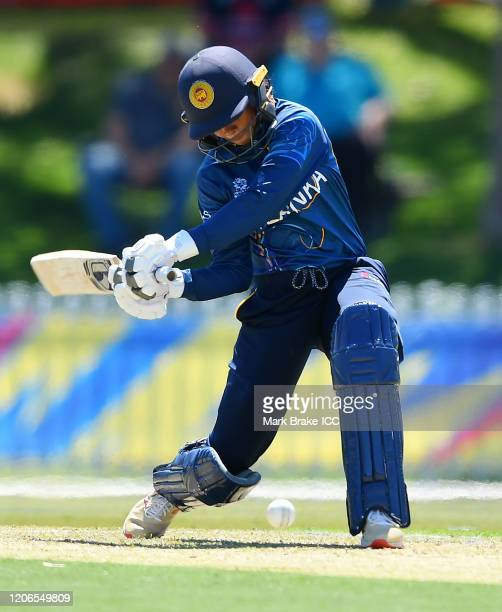 Nilakshi de Silva of Sri Lanka bats during the ICC Women's T20 Cricket World Cup Warm Up match between Sri Lanka and South Africa at Karen Rolton...