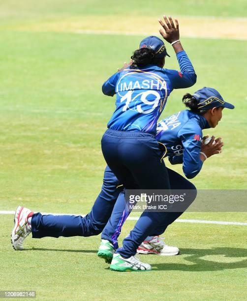 Nilakshi de Silva of Sri Lanka catches Katherine Brunt of England watched by Umasha Thimashani of Sri Lanka during the ICC Women's T20 Cricket World...