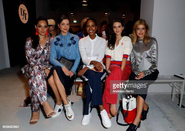 Nilam Farooq Susan Hoecke Sara Nuru Ruby O Fee and Marie Nasemann attend the 'Designer for Tomorrow' show during the MercedesBenz Fashion Week Berlin...
