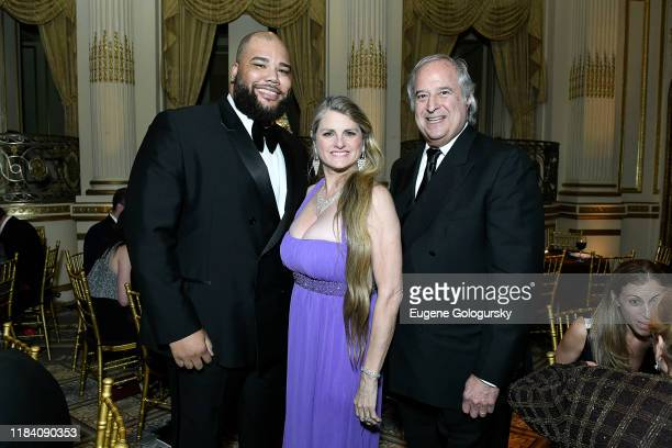 Nilan Johnson, Bonnie Comley and Stewart F. Lane attend the The 36th Annual Drama League Benefit Gala at The Plaza Hotel on October 28, 2019 in New...