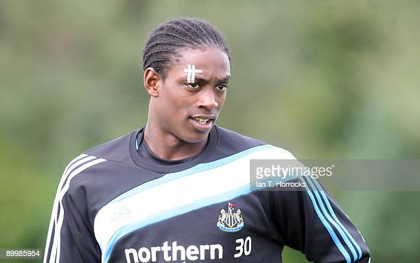 Nile Ranger during a Newcastle United training session at the Little Benton training complex on August 21 2009 in Newcastle England