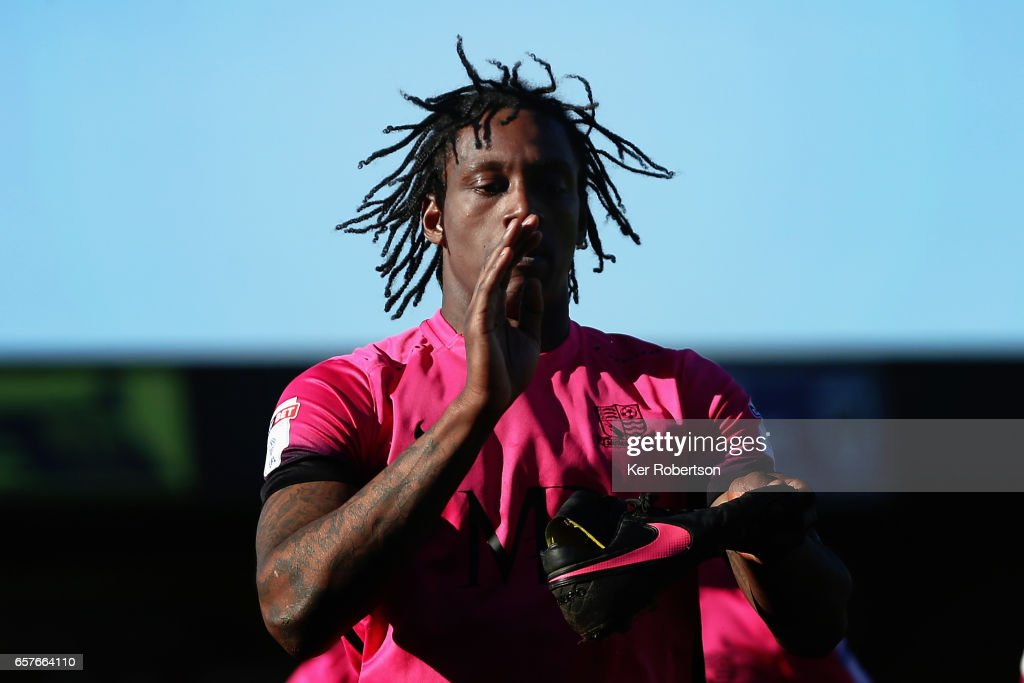 Nile Ranger of Southend United celebrates scoring during the Sky Bet League One match between A.F.C. Wimbledon v Southend United at the Cherry Red Records Stadium on March 25, 2017 in Kingston upon Thames, United Kingdom.