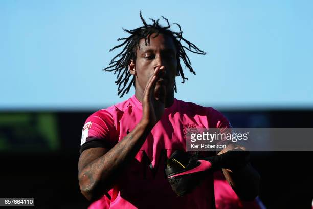 Nile Ranger of Southend United celebrates scoring during the Sky Bet League One match between AFC Wimbledon v Southend United at the Cherry Red...
