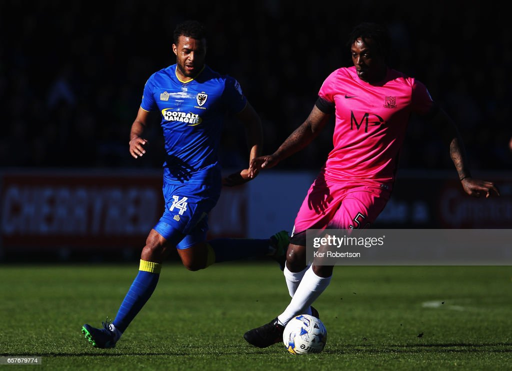 Nile Ranger (R) of Southend United holds off the challenge of Tom Soares of A.F.C. Wimbledon during the Sky Bet League One match between A.F.C. Wimbledon v Southend United at the Cherry Red Records Stadium on March 25, 2017 in Kingston upon Thames, United Kingdom.