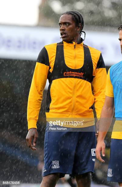 Nile Ranger of Southend United looks on during the pre match warm up prior to the Sky Bet League One match between Southend United and Northampton...