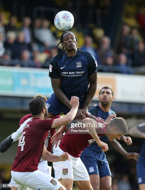 Nile Ranger of Southend United rises to head the ball during the Sky Bet League One match between Southend United and Northampton Town at Roots Hall...