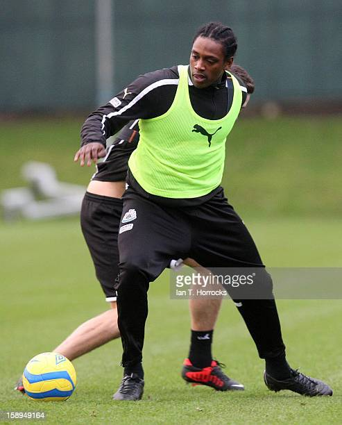 Nile Ranger takes part in a Newcastle United Training at The Little Benton training ground on January 04 2013 in Newcastle upon Tyne England