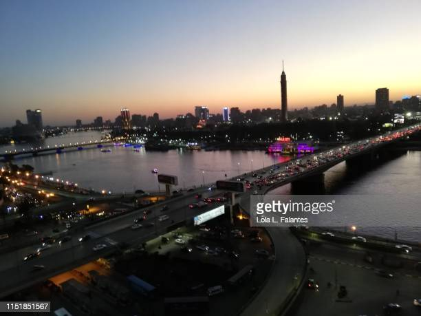 Nile river and Cairo cityscape as the night falls.