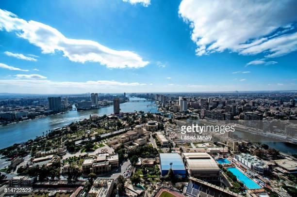 nile river and cityscape of cairo egypt - zamalek photos et images de collection
