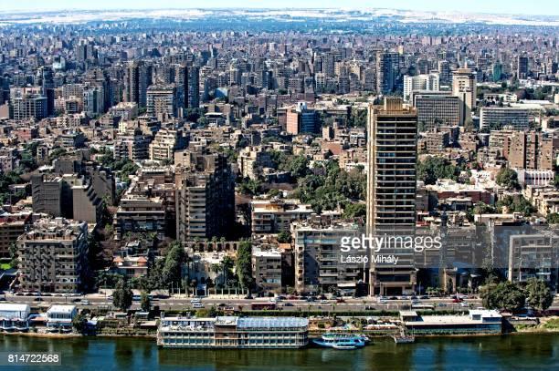 nile river and cityscape of cairo egypt_3 - zamalek photos et images de collection