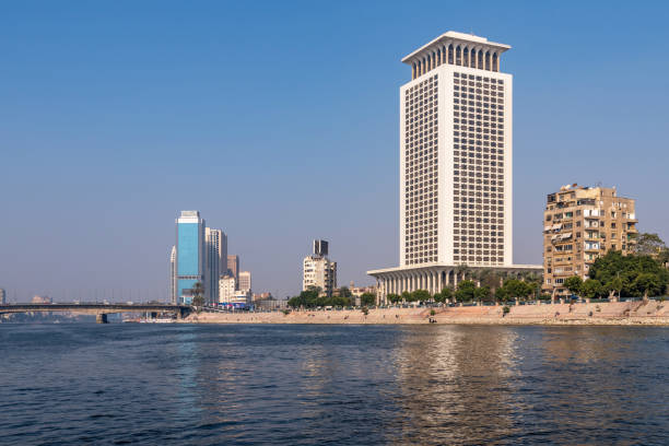 Nile river and the ministry of foreign affairs in Cairo, Egypt