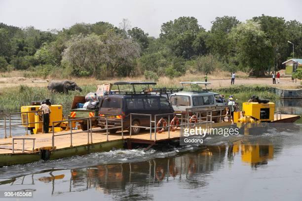 Nile river ferry boat in Paraa Uganda