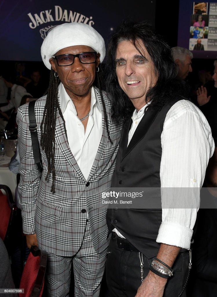 Nile Rodgers (L) and Alice Cooper at the Nordoff Robbins O2 Silver Clef Awards at The Grosvenor House Hotel on June 30, 2017 in London, England.