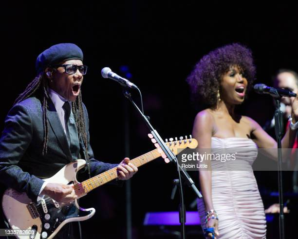 Nile Rodgers and Folami of Chic perform during Hampton Court Palace Festival 2021 at Hampton Court Palace on August 22, 2021 in London, England.