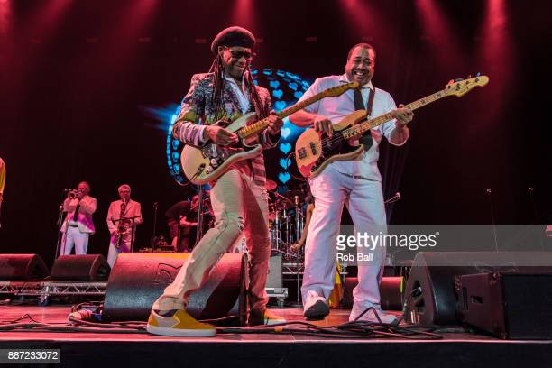 Nile Rodgers and Jerry Barnes from CHIC perform live on stage at The O2 Arena as part of Bluesfest on October 27 2017 in London England