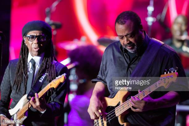 Nile Rodgers and Jerry Barnes of Chic perform during Hampton Court Palace Festival 2021 at Hampton Court Palace on August 22, 2021 in London, England.