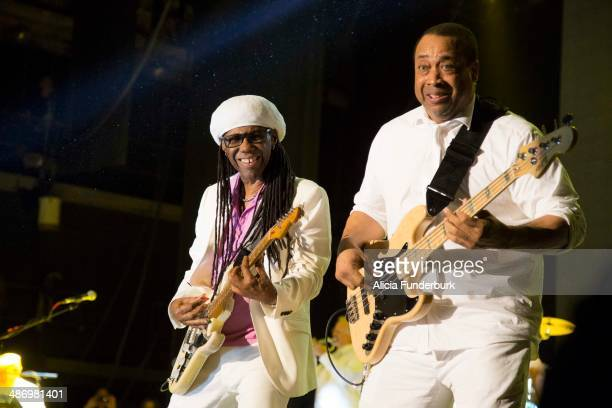 Nile Rodgers and Jerry Barnes of Chic perform during Moogfest 2014 on April 26, 2014 in Asheville, North Carolina.