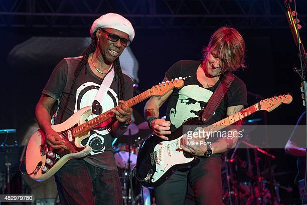 Nile Rodgers and Keith Urban perform during day one of the 2015 FOLD Festival at Martha Clara Vineyards on August 4 2015 in Riverhead New York
