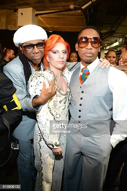 Nile Rodgers and Lady Gaga attend The 58th GRAMMY Awards at Staples Center on February 15 2016 in Los Angeles California