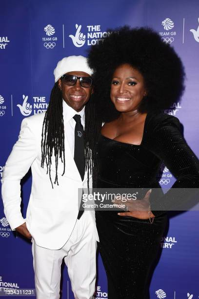 Nile Rodgers and Mica Paris attend The National Lottery's Team GB homecoming event at the SSE Arena Wembley on August 15, 2021 in London, England.