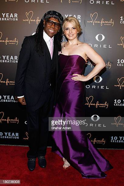 Nile Rodgers and nancy Hunt attends the We Are Family Foundation 10 Year Celebration Gala at the Hammerstein Ballroom on October 24 2011 in New York...