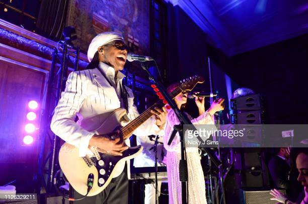 Nile Rodgers Chic perform at Nile Rodgers BRIT Awards 2019 viewing party held at The Ned on February 20 2019 in London England