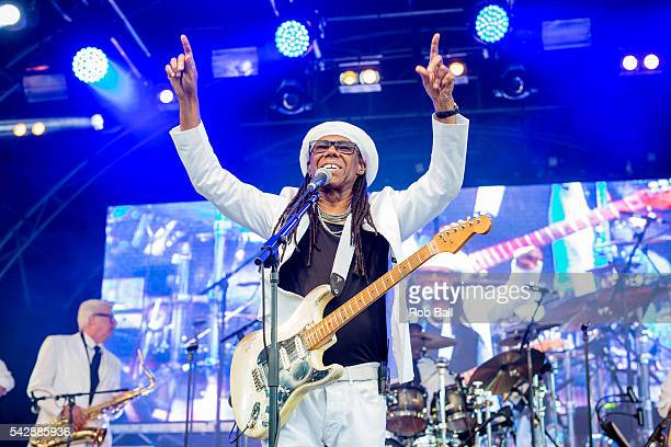 Nile Rodgers from Chic performs at Fold Festival at Fulham Palace on June 24 2016 in London England