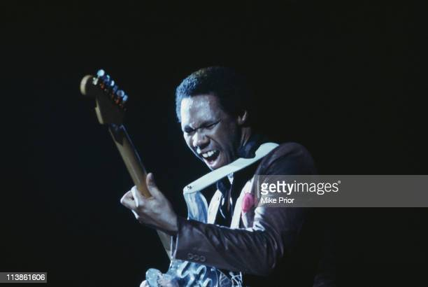 Nile Rodgers guitarist with Chic during a live concert performance by the band on stage at the Hammersmith Odeon London England Great Britain in...
