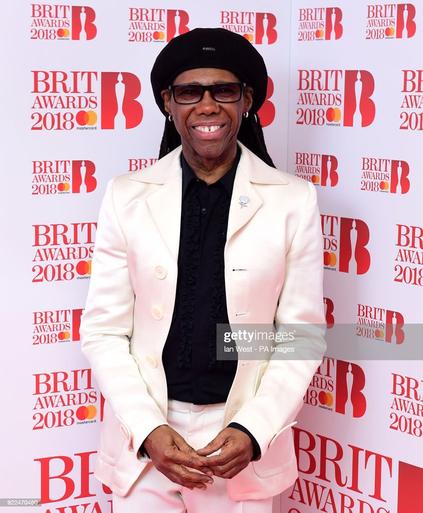Nile Rodgers in the press room during the Brit Awards at the O2 Arena, London