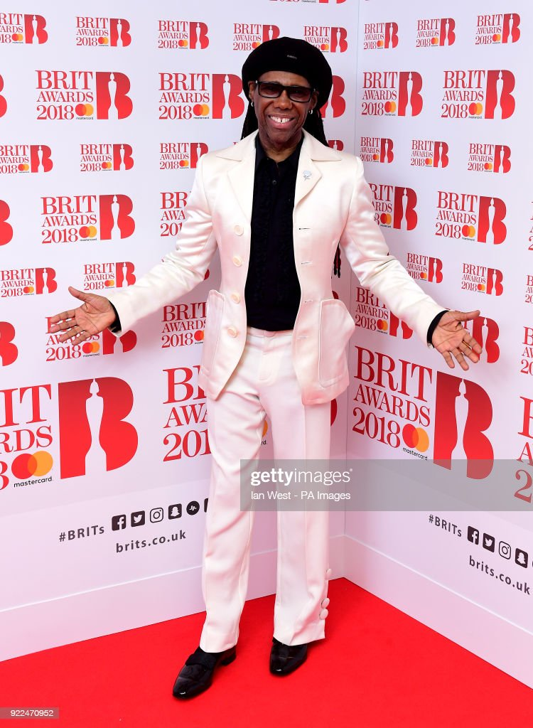 Nile Rodgers in the press room during the Brit Awards at the O2 Arena, London.