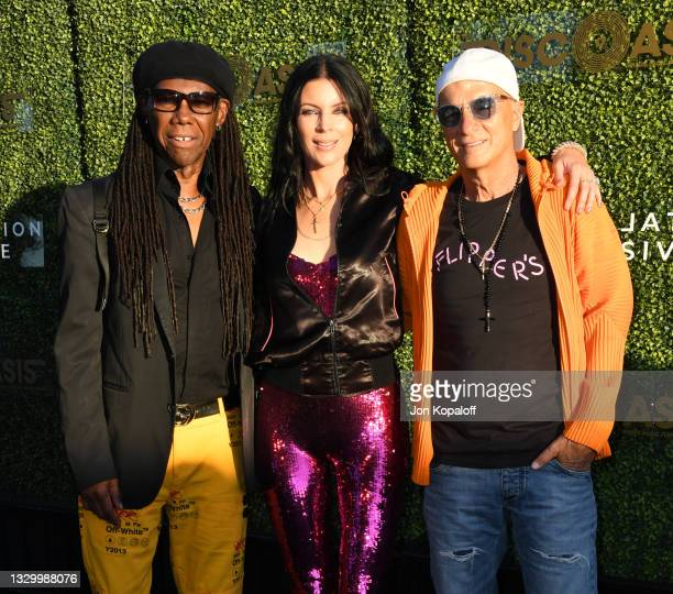 Nile Rodgers, Liberty Ross and Jimmy Iovine arrive at The DiscOasis VIP Night at South Coast Botanic Garden on July 21, 2021 in Palos Verdes Estates,...