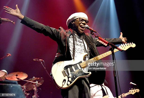 Nile Rodgers of Chic featuring Nile Rodgers performs at the Fox Theater on February 20 2016 in Oakland California