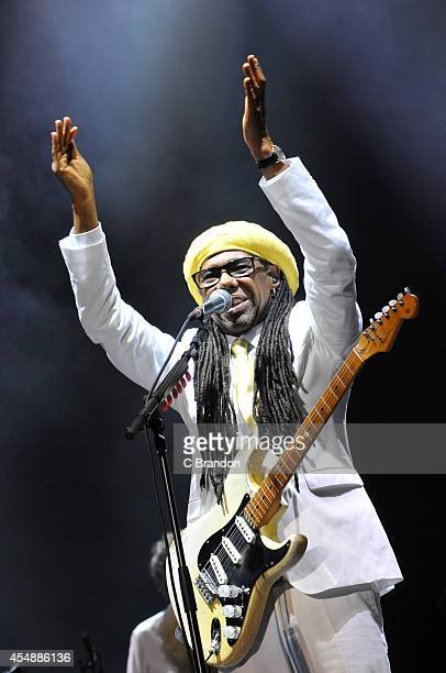 Nile Rodgers of Chic headlines on the main stage during the final day of Bestival 2014 at Robin Hill Country Park on September 7 2014 in Newport...