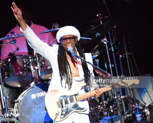 Nile Rodgers of CHIC performs at Verizon Wireless Amphitheater on August 19 2017 in Alpharetta Georgia