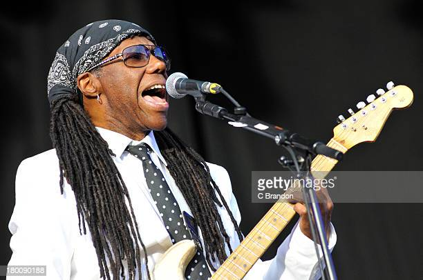 Nile Rodgers of Chic performs on stage during Day 4 of Bestival 2013 at Robin Hill Country Park on September 8 2013 in Newport Isle of Wight