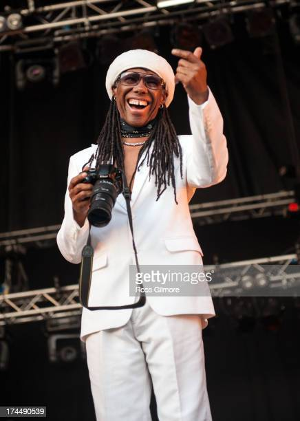 Nile Rodgers of Chic performs on stage on Day 1 of Wickerman Festival on July 26 2013 in Dundrennan Scotland