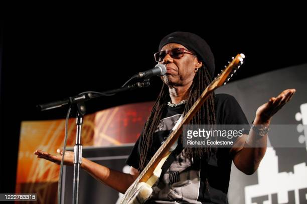 Nile Rodgers of Chic performs on stage, United Kingdom, 2014.