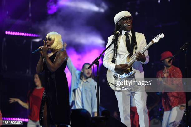 Nile Rodgers on stage during The National Lottery's Team GB homecoming event at the SSE Arena Wembley on August 15, 2021 in London, England.