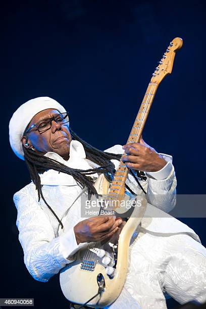 Nile Rodgers performs on stage at the New Year's Eve Masterjam at Media City Amphitheatre on December 31 2014 in Dubai United Arab Emirates