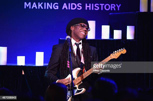 Nile Rodgers performs the 2014 amfAR New York Gala at Cipriani Wall Street on February 5, 2014 in New York City.